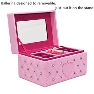 Smonet Musical Jewelry Box, Ballerina Girl's Jewel Storage Case, Twinkle Twinkle Little Star Tune, Pink - zingydecor
