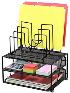 DecoBros Mesh Desk Organizer with Double Tray and 5 Stacking Sorter Sections, Black - zingydecor