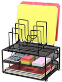 DecoBros Mesh Desk Organizer with Double Tray and 5 Stacking Sorter Sections, Black