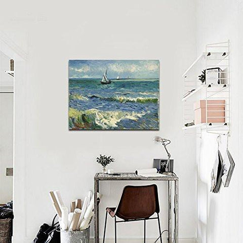 Image of Seascape at Saintes Maries by Vincent Van Gogh Oil Paintings Reproduction Modern Wrapped Giclee Canvas Prints Sea Pictures on Canvas Wall Art for Living Room Home Office Decorations - zingydecor