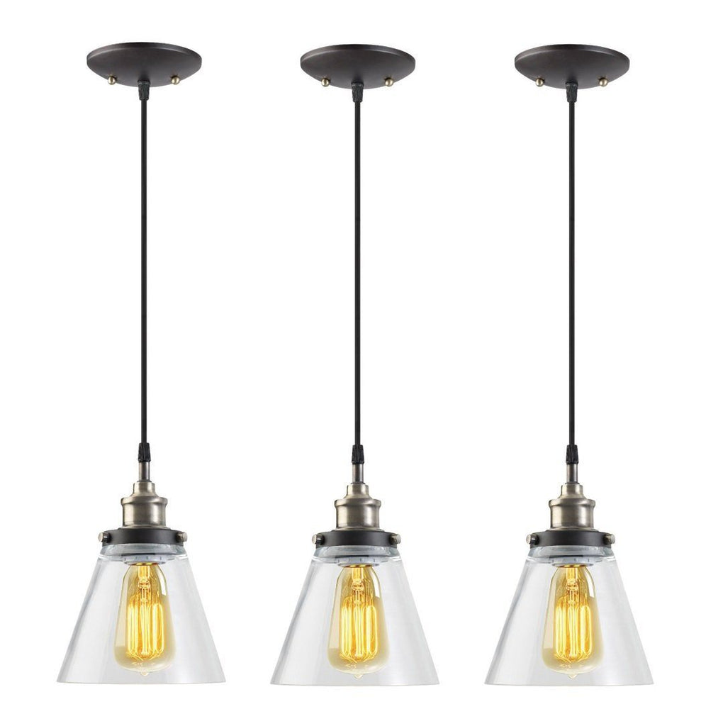 Globe Electric 1-Light Vintage Edison Hanging Pendant, 3-Pack, Antique Brass & Bronze Finish, Black Cord, Glass Shade, 65207