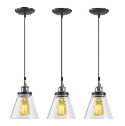 Image of Globe Electric 1-Light Vintage Edison Hanging Pendant, 3-Pack, Antique Brass & Bronze Finish, Black Cord, Glass Shade, 65207