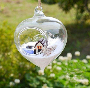 Pack of 3 Hanging Terrarium Glass Vase Flower Air Plant Pot Container Home Office Wedding Decoration Heart Shape