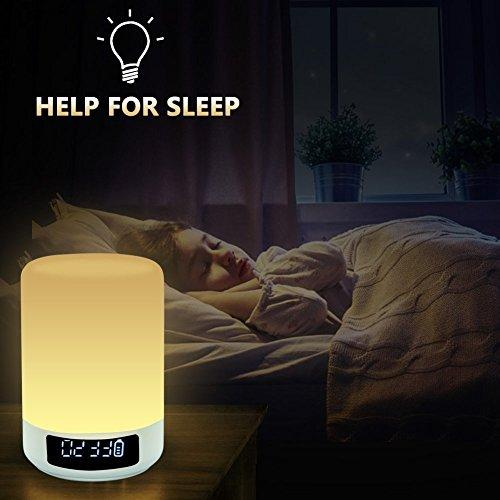 Bedside Lamps - ALECTIDE Bluetooth Speakers, Table Lamp Touch Sensor Dimmable Colors Night Lights 4 Level Brightness Changing, Alarm Clock, Hands-free, Timing Function Best Gifts for Baby Kids Teens - zingydecor