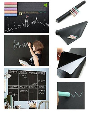 Image of Fancy-fix Blackboard Vinyl Peel and Stick Self Adhesive Chalkboard Wall Sticker with 5 Chalks- Big Roll 17.7 By 78.7 Inches