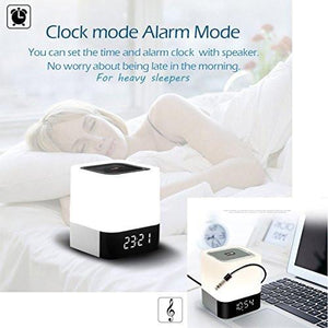 Wireless Bluetooth 4.0 Speaker Portable HIFI Stereo with Led Light Lamp and Alarm Clock, Hands-free Calls,Quality Sound, Touch Sensor, MP3 Player, Support SD TF Card, 3.5mm AUX Jack (White) - zingydecor