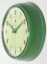 Load image into Gallery viewer, Infinity Instruments Retro 9-1/2-Inch Round Metal Wall Clock, Green