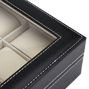 Readaeer Black Leather 10 Watch Box Case Organizer Display Storage Tray for Men & Women - zingydecor