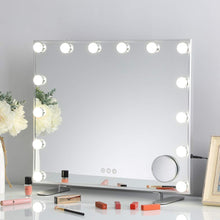 Large Vanity Mirror with Lights, Hollywood Lighted Makeup Mirror with 14 Dimmable LED Bulbs for Dressing Room & Bedroom, Tabletop or Wall-Mounted, Slim Metal Frame Design, White