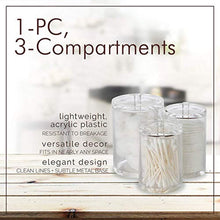 Load image into Gallery viewer, Cotton Ball, Swab, and Q-tip Storage Set, 1-Piece, 3-Compartments, for Easy Organization on Bathroom Counters, Under Sink Placement, or Vanity Tables - zingydecor