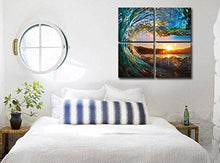 Load image into Gallery viewer, Natural art - Green Sea Wave Painting 4 pcs Wall Art Ocean View Art Print on Canvas Wall Decoration Wrapped with Wooden Frame Easy to Hang, (12×12in×4pcs)