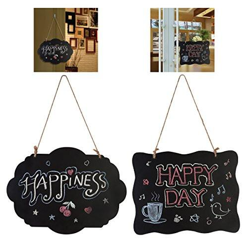ULTNICE Chalkboard Sign Double-Sided Message Board with Hanging String - 2 Pack