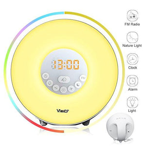 Wake-Up Light Colored Sunrise Alarm Clock with Smart Snooze Function, Nature Sounds, FM Radio - Touch Control with USB Charger - zingydecor