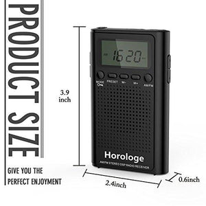 Horologe AM FM Pocket Radio, Portable Alarm Clock Radio with Time, Alarm, Radio, Digital Display,Stereo Mode and Including Battery - zingydecor