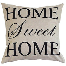 "Load image into Gallery viewer, Cotton Linen Square Decorative Throw Pillow Case Cushion Cover 18"" x 18"" Home Sweet Home Love in Simple Words - zingydecor"