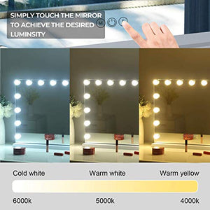 Hansong Large Vanity Makeup Mirror with Lights,Hollywood Lighted Dressing Tabletop Mirror or Wall Mounted Beauty Mirrors with 15 pcs Led Bulbs,Detachable 10X Magnification Spot Cosmetic Mirror