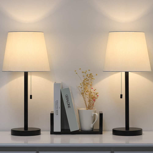 Modern Table Lamp Set of 2, Bedside Lamps for Bedroom, Living Room, Nightstand, Dresser, Desk, Coffee Table, Office - zingydecor