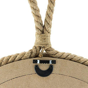 Stonebriar Small Round Wrapped Rope Mirror with Hanging Loop, Vintage Nautical Design - zingydecor