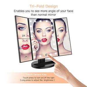 Makeup Vanity Mirror with Lights, 2X/3X Magnification, 21 Led Lighted Mirror with Touch Screen,180° Adjustable Rotation,Dual Power Supply,Portable Trifold Mirror