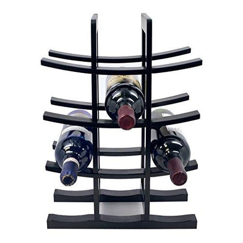 Image of Sorbus Bamboo Wine Rack – Holds 12 Bottles of Your Favorite Wine – Sleek and Chic Looking Wine Rack (Black)