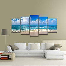 Load image into Gallery viewer, Pyradecor Seaside Modern Stretched and Framed Seascape 5 panels Giclee Canvas Prints Artwork Landscape Pictures Paintings on Canvas Wall Art for Home Decor - zingydecor