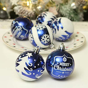 "Sea Team 60mm/2.36"" Delicate Painting & Glittering Shatterproof Christmas Ball Ornaments Decorative Hanging Christmas Ornaments Baubles Set for Christmas Tree - 24 Counts (Blue)"