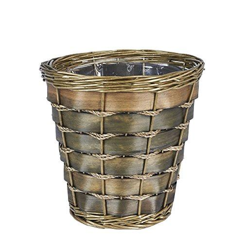 Household Essentials Small Haven Willow and Poplar Decorative Waste Basket, Natural Dark Brown