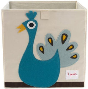 3 Sprouts Storage Box, Peacock - zingydecor