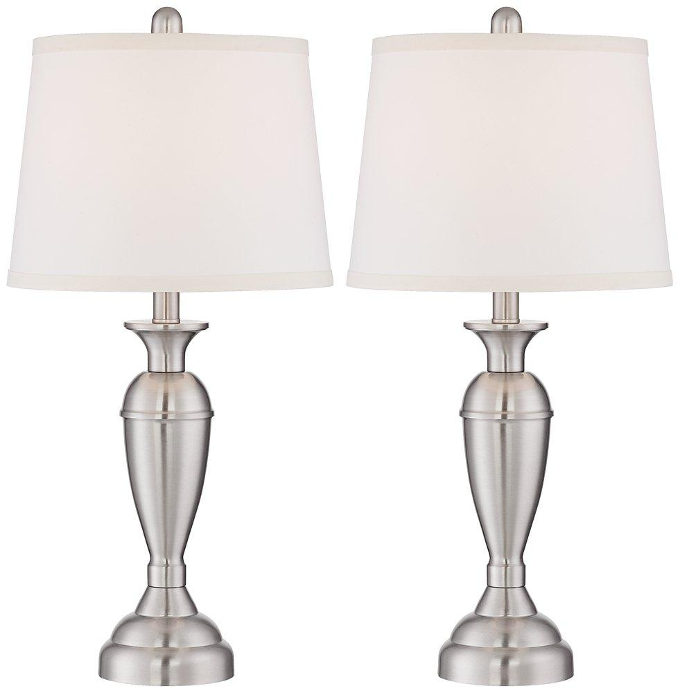 Blair Brushed Nickel Metal Table Lamp Set of 2 - zingydecor