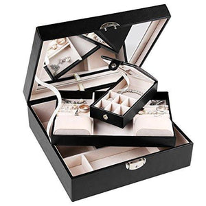 J.Rosée Jewelry Organizer Romantic Gifts Travel Black Leather Jewelry Box Lockable Makeup Storage Case with Mirror