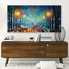 Load image into Gallery viewer, WallDeco Modern Landscape Painting On Canvas Night Rain Lover Wall Art Wall Decorations Artwork Stretched and Framed for Living Room Ready to Hang 24x12 inch 60x30 cm - zingydecor
