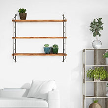Load image into Gallery viewer, MyGift Modern Industrial Metal & Torched Wood Adjustable Wall Mounted 3-Tier Shelf - zingydecor