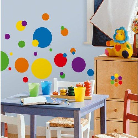 Image of RoomMates RMK1248SCS Just Dots Primary Colors Peel & Stick Wall Decals - zingydecor
