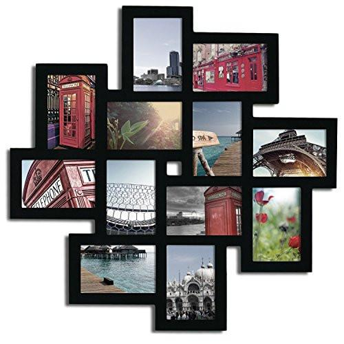 "Adeco Decorative Black Wood Wall Hanging Collage Picture Photo Frame, 12 Openings, 4x6"" - zingydecor"