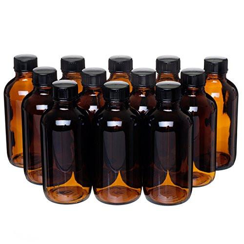 12 Pack - 4 oz. Amber Glass Bottle with Lid for Vanilla Extract, Perfume, Oils, Light-Sensitive Liquids, Refillable Boston Round Bottle from California Home Goods - zingydecor