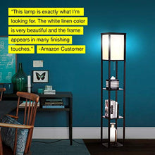 Load image into Gallery viewer, Modern LED Shelf Floor Lamp - Skinny End Table & Nightstand for Bedroom - Combo Narrow Side Table with Standing Accent Light Attached - Asian Tower Book Shelves - Black