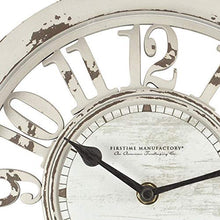 "Load image into Gallery viewer, FirsTime & Co. Antique Contour Wall Clock, 10"", Distressed Ivory"