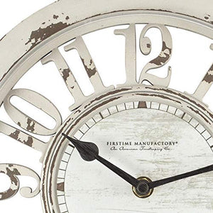 "FirsTime & Co. Antique Contour Wall Clock, 10"", Distressed Ivory"