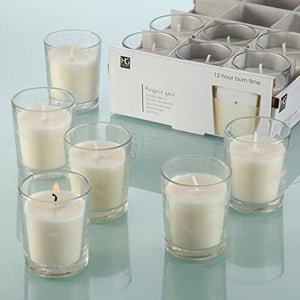 Set of 48 Unscented Glass Filled Votive Candles - 12 Hour Burn Time - zingydecor
