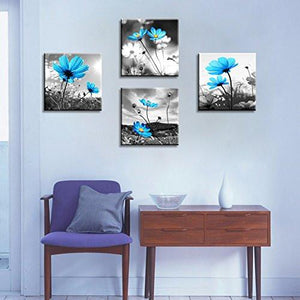HLJ Arts Modern Salon Theme Black and White Peacock Blue Vase Flower Abstract Painting Still Life Canvas Wall Art for Home Decor 12x12inches 4pcs/set