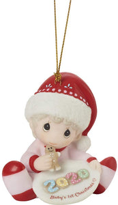 Baby's 1st ChristmasGirl Bisque Porcelain Ornament