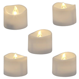 Homemory Realistic and Bright Flickering Bulb Battery Operated Flameless LED Tea Light for Seasonal & Festival Celebration, Pack of 12, Electric Fake Candle in Warm White and Wave Open - zingydecor