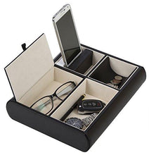 Load image into Gallery viewer, Jack Cube Valet Tray Leather, Desk or Dresser Organizer, Catch-all for Keys, Phone, Wallet, Coin, Jewelry, and More (10.34 x 2.15 x 8.19 inches) - MK158