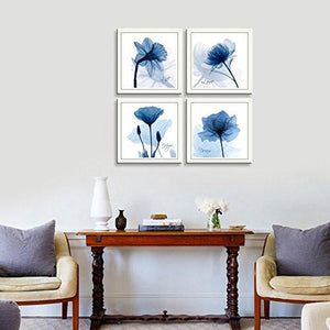 HLJ Arts 4 Panels Crystal Theme Giclee Flickering Blue Flowers Printed Paintings on Canvas for Wall Decor 12x12inches 4pcs/set (Blue) - zingydecor