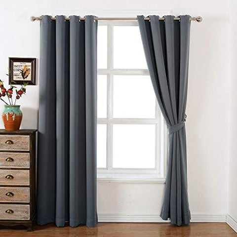Image of AMAZLINEN 52x84-Inch Grommet Top Blackout Curtains with Tie Back, (Set of 2) - zingydecor