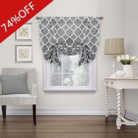 "Thermal Insulated Grey Blackout Curtain - Tie Up Shade for Small Window ( Rod Pocket Panel, 42""W x 63""L, Moroccan Printed in Gray) - By H.Versailtex"