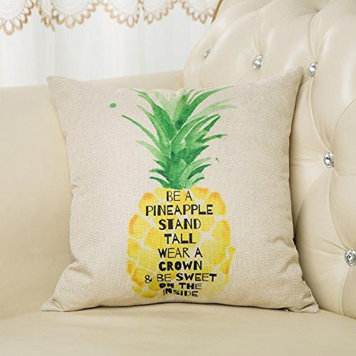 "Be a Pineapple Stand Tall Wear a Crown and Be Sweet on the Inside Inspirational Quote Cotton Linen Decorative Throw Pillow Case Cushion Cover for Sofa Couch, Gold Yellow, 18"" x 18"""