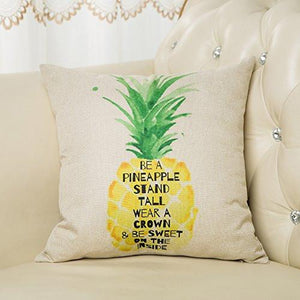 "Be a Pineapple Stand Tall Wear a Crown and Be Sweet on the Inside Inspirational Quote Cotton Linen Decorative Throw Pillow Case Cushion Cover for Sofa Couch, Gold Yellow, 18"" x 18"" - zingydecor"