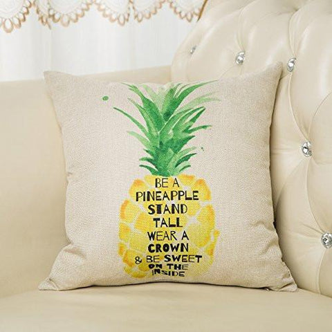 "Image of Be a Pineapple Stand Tall Wear a Crown and Be Sweet on the Inside Inspirational Quote Cotton Linen Decorative Throw Pillow Case Cushion Cover for Sofa Couch, Gold Yellow, 18"" x 18"""
