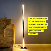 "Load image into Gallery viewer, Helix Modern LED Floor Lamp for Living Room Bright Lighting - Get Compliments: Unique, 48"" Tall Light for Bedrooms, Offices - Dimmable, Contemporary Indoor Pole Lamp - Platinum Silver"